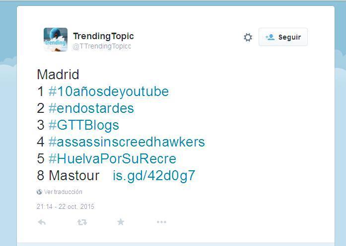 Captura de pantalla de Twitter con la reseña del TT #GTTBlogs