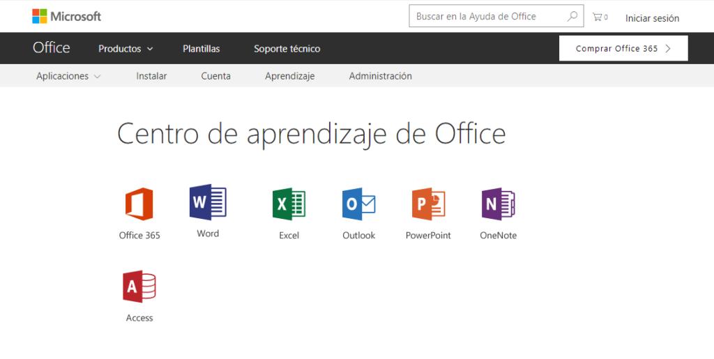 centro de aprendizaje de office